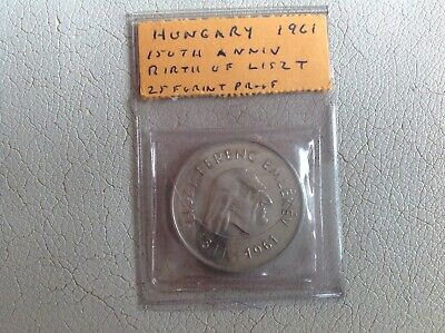 Hungary Silver Proof Coin 25 Forint 1961 Birth Of Liszt