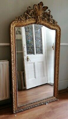 Stunning Rococo Style Overmantel Guilt French Antique Mirror C. 1870