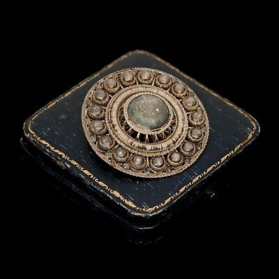 "Antique Vintage Deco Sterling 800 Silver Etruscan Filigree HUGE 2"" L Pin Brooch"