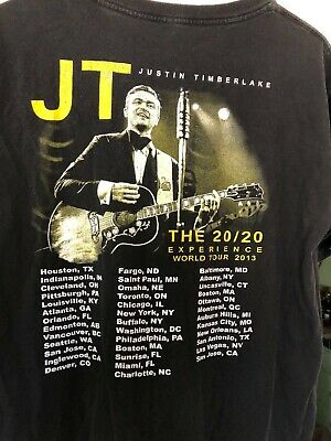 "Justin Timberlake JT 20/20 Experience World Tour Concert T Shirt Black 42"" chest"