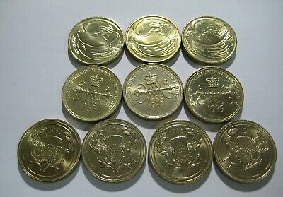 10 x £2 coins. Dove of Peace 1995, Bill of Rights, Commonwealth Games two pounds