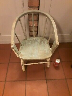 Amazing Antique Childs Elm Bow Back Chair - Shabby Chic