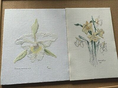 VINTAGE COMPLETED CROSS STITCHES x 2 FLOWERS DAFFODILS AND IRIS BLOOMS GARDEN