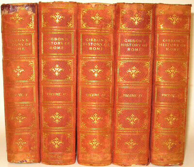 LEATHER Set;DECLINE AND FALL OF THE ROMAN EMPIRE! Edward GIBBON ROME Antiquarian