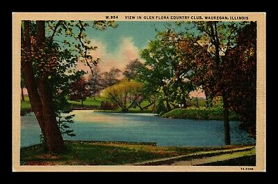 Dr Jim Stamps Us Glen Flora Country Club Waukegan Illinois Linen View Postcard