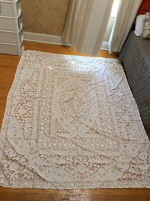 "Lace Table Cloth Cream 85"" X 59"" Square"