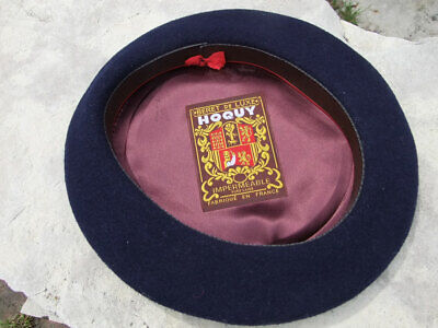 741e88125 VINTAGE HOQUY BERET 100% Wool Made in France Beret De Luxe Large ...