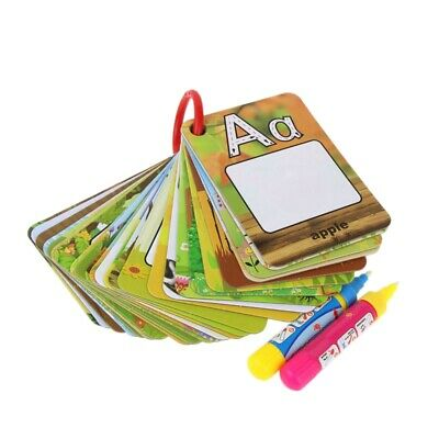 Water Drawing Card 26 Alphabet Coloring Book & 2 Magic Pen Letter Card Pain D6P2