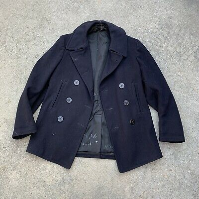 Vtg Wwii 40s USN Peacoat Jacket 10 Button Fits Mens S M Worn Condition Hbt Denim