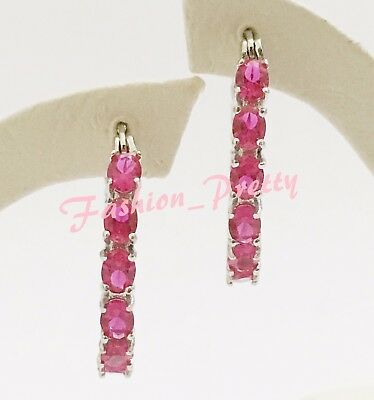 New!! Pretty 3 1/3Ct Oval Ruby Inside-Out Hoop Earrings In Sterling Silver