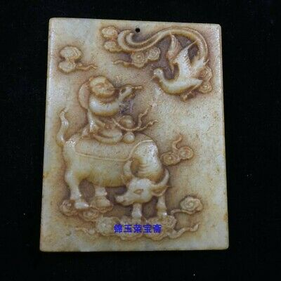 "2"" Chinese antique Natural hetian jade handcarved Children cattle ox Pendant"
