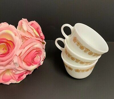 3 Vintage Pyrex Butterfly Gold Design Milk Glass Coffee Cups Mugs