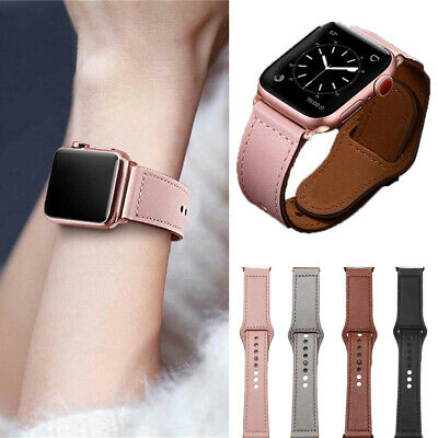 Unisex Genuine Leather Apple Watch Band Strap for iWatch 4 3 2 1 38/42mm 40/44mm