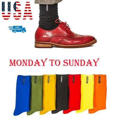 Mens Colorful Cotton Weekly Socks Casual Dress Business Crew Socks Bright Colors