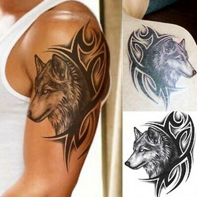 Large Wolf Head Temporary Transfer Tattoo Art Sticker for Men Arm Shoulder Back
