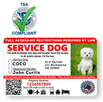 Holographic QR Code Service Dog ID Card with Registration ADA