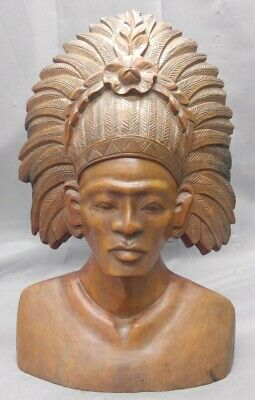 Old Vintage Hand Carved Asian Indonesian Balinese Man Statue Bust Wood Carving