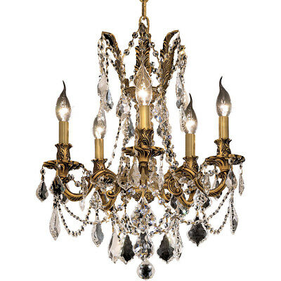 Made With Swarovski Crystal Chandelier Qaulity French Gold Fixtures 5 Light 19""