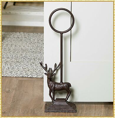 Heavy Cast Iron Country DEER Door Stop Tall Handle Farmhouse Rustic Home Decor