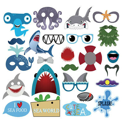 25X Shark Birthday Photo Booth Props Decoration Photography Selfie Baby shower
