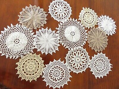 12pc cotton crochet medallions/ doilies whtie cream ecru 9-12cm 4 dream catcher