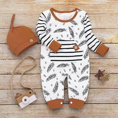 AU Newborn Kid Baby Girl Boy Feather Clothes Romper Jumpsuit Hat Autumn Outfit