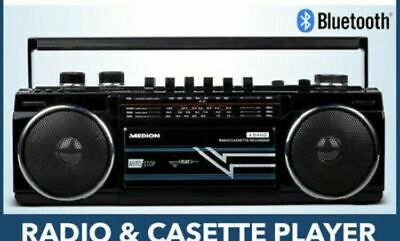 Medion 80S Style Boombox E65131 Bluetooth USB FM Recorder CAssettes tape Radio