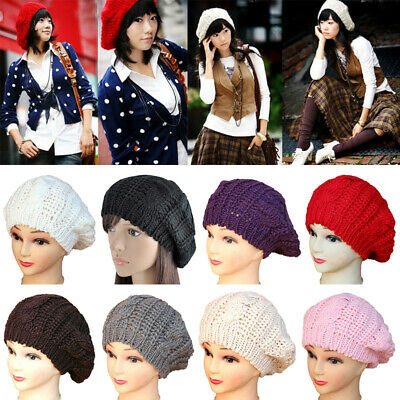 7d963825 Solid Beanies Wool Hat Warm Cap Unisex Autumn Winter Men Women Beret Wrap