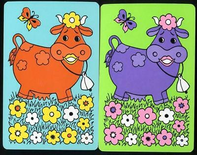 Beautiful Vintage Swap Cards Farm Cow With Bell New Condition