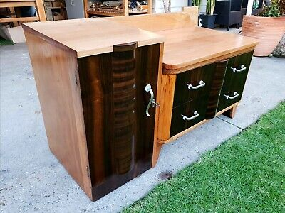 Three Draw Art Deco Lockable Cupboard Chest Of Drawers Bedside Table. With Key