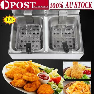 12L Durable Commercial Steel Benchtop Electric Deep Fryer with Double Oil Basket