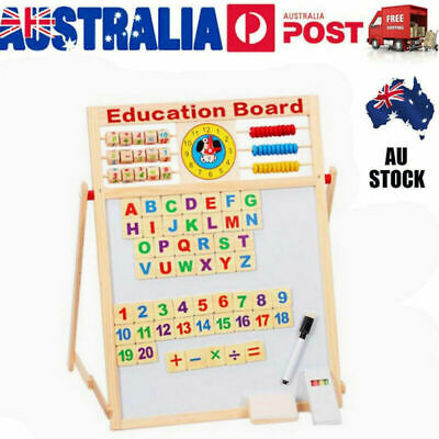 Wooden Magnetic Jigsaw Puzzles Toddler Toys Drawing Easel for Boys Girls VIC AU