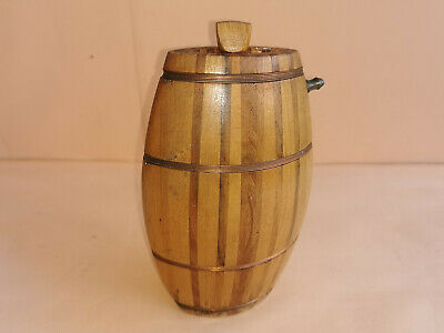 OLD ANTIQUE PRIMITIVE WOODEN HAND MADE FLASK FLAT BOTTLE FLAT KEG EARLY 20th
