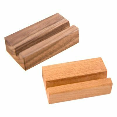 Business Card Holder Office Desk Wooden Photo Stand Name Memo Clips Storage