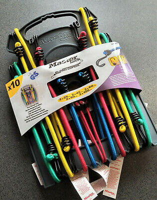 Master Lock Pack of 10 Colour Coded Assorted Bungee Cord Lashing Tie Down Strap