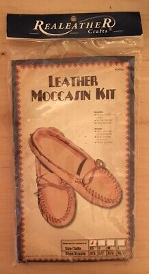Realeather Crafts #C4604 Leather Moccasin Kit Size 4/5 XS Gold/Tan Extra Small