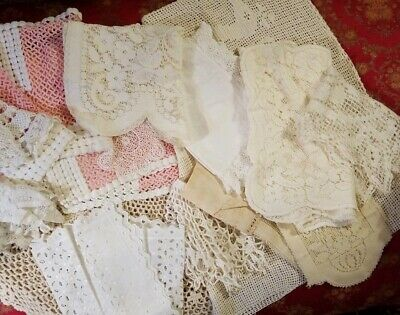 Lot of Vintage Antique Crocheted Lace Runners Doilies Table Topper 19 Pieces