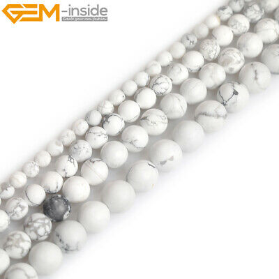 Natural White Howlite Jasper Stone Semi Precious Forested Matt Round Loose Beads