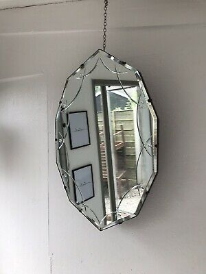 Vintage Beveled Edge Frameless Mirror Lovely Etched Art Deco Mirror