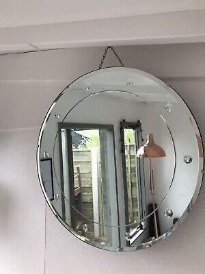 Vintage Frameless Round Mirror Lovely Mirror Art Deco Round Bevelled Mirror
