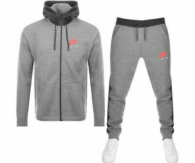 Mens Grey Nike Air Full Tracksuit fleece nsw top and bottoms various sizes slim