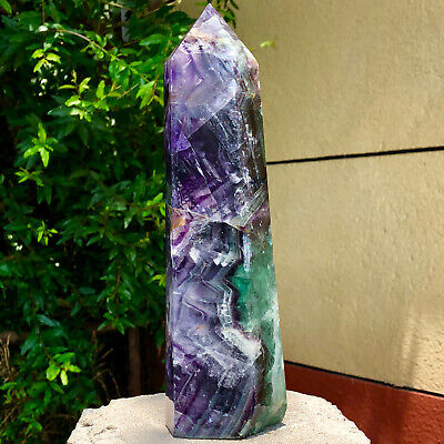 4.5LB Natural Fluorite Obelisk Quartz Crystal Wand Point Realistic Healing A549