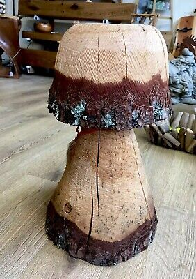 Rustic Chainsaw Carved WOOD Garden Mushroom Flat Top Stool Woodland Unique 16.5""