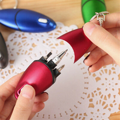 Multifunction Screwdriver Ballpoint Pen With LED Light Keychain Creative