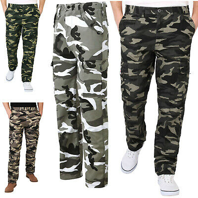 Mens Camouflage Military Combat Trousers Cargo Camo Army Casual Work Long Pants