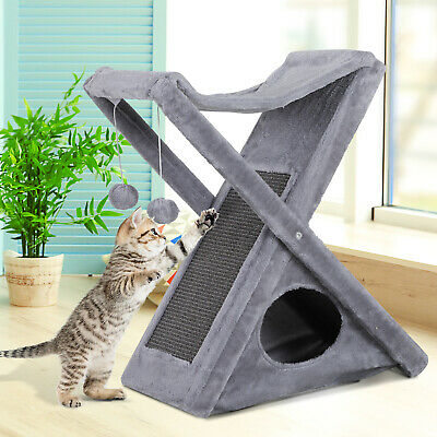 Fold-and-Store Cat Tower Kitty Activity Tree Center Scratcher  Cave Hammock
