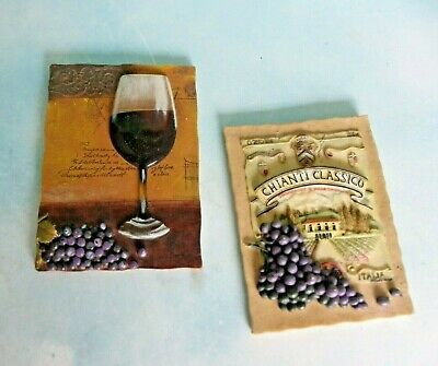 WINE & GRAPES 3D Resin Wall Hanging Plaques Signs Chianti ...