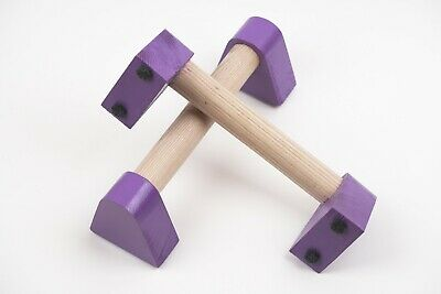 Wooden Parallettes bars Natural for yoga gymnastics. Purple push up  bars