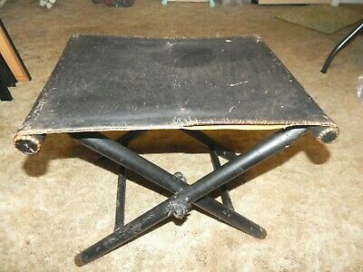 Very Rare Antique Clavos Inc Completely Leather Wrapped Stool Brass Feet