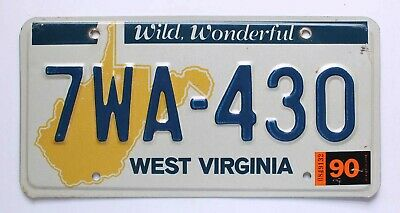 """West Virginia 1990 """"Wild, Wonderful"""" License Plate with Map Graphic, 7WA-430"""
